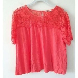 Elodie Lace Short Sleeve Top Large
